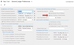 Acumatica Cloud ERP GL Preference