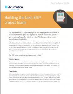 Building the Best ERP Project Team White Paper