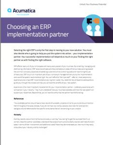 Choosing an ERP Implementation Partner White Paper
