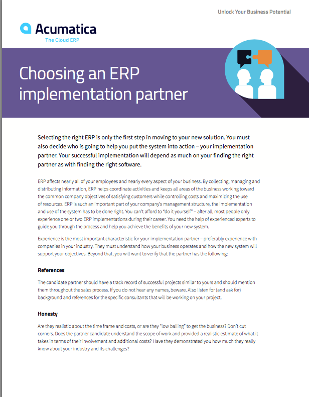 Choosing an ERP Implementation Partner White Paper