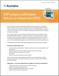 ERP Project Justification Return on investment ROI White Paper