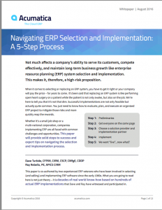 Get it Right or Pay the Price A 5-Step Process for ERP Selection and Implementation White Paper