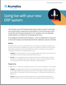 Going Live with Your New ERP System White Paper