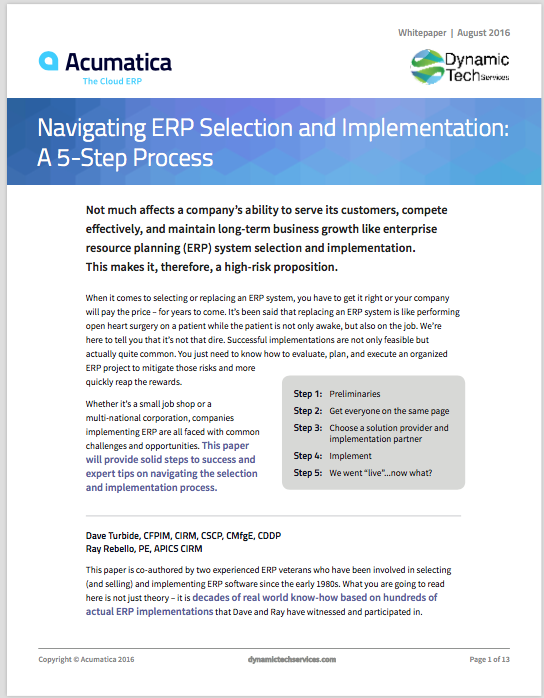 Navigating ERP Selection Implementation 5-Step Process White Paper