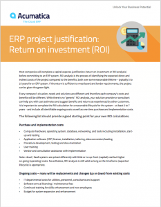 ERP Project Justification ROI White Paper