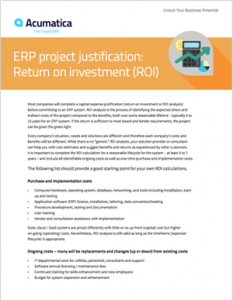 ERP Project Justification: Return on Investment (ROI) White Paper