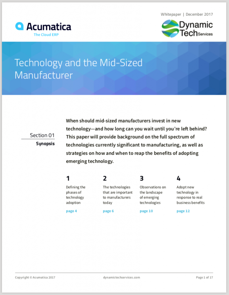 Technology and the Mid-Sized Manufacturer White Paper
