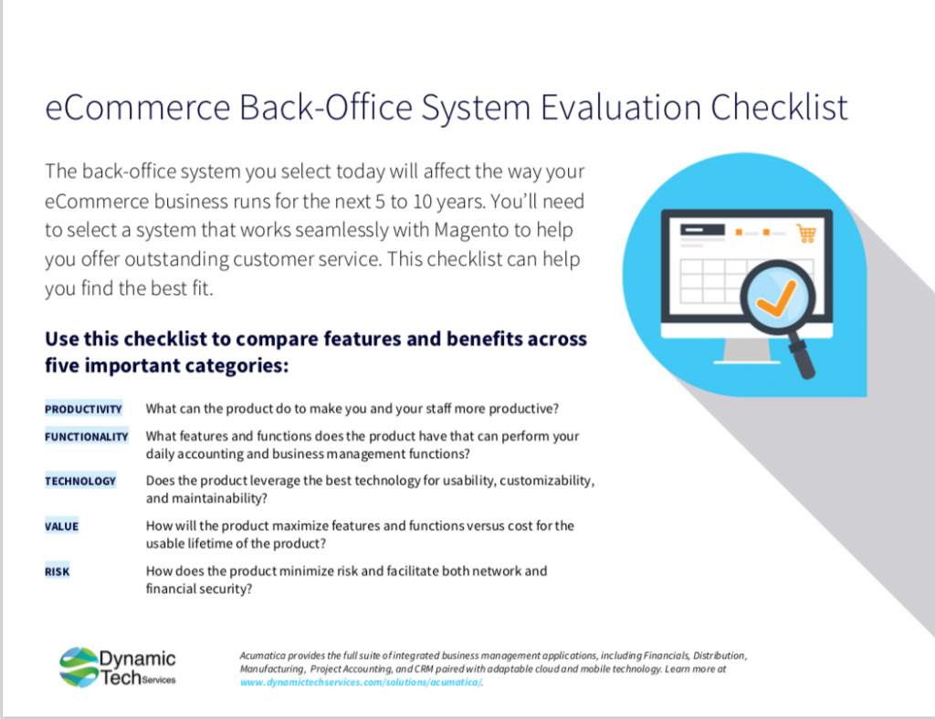 Acumatica eCommerce Evaluation Checklist