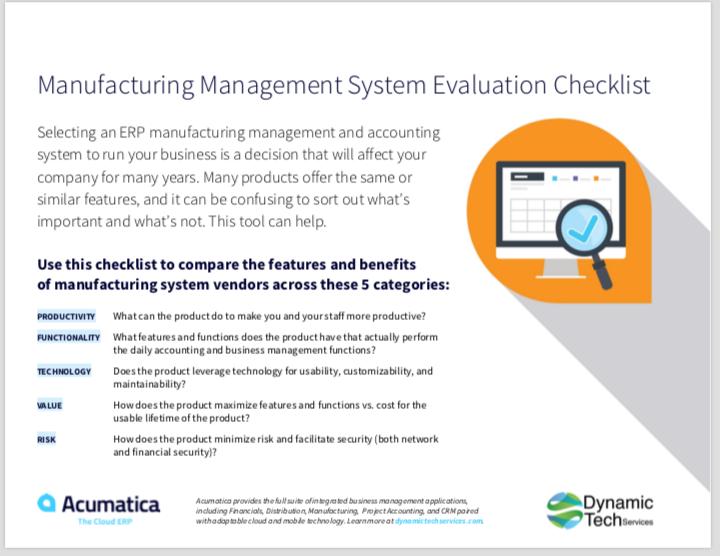 Manufacturing Evaluation Checklist