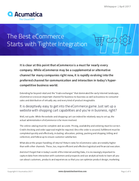 The Best eCommerce Starts with Tighter Integration White Paper