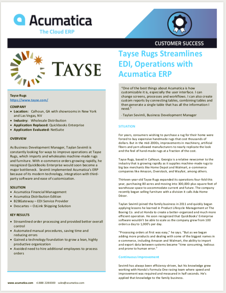 Tayse Rugs Case Study