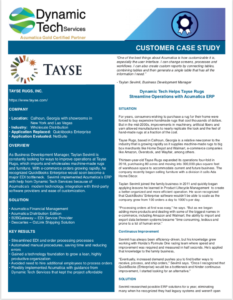 Tayse Customer Case Study Acumatica