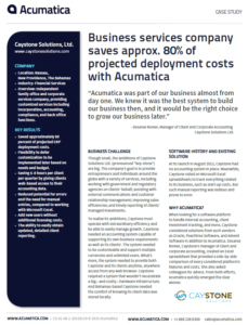 Caystone Solutions Acumatica Case Study