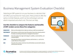 ERP Evaluation Checklist