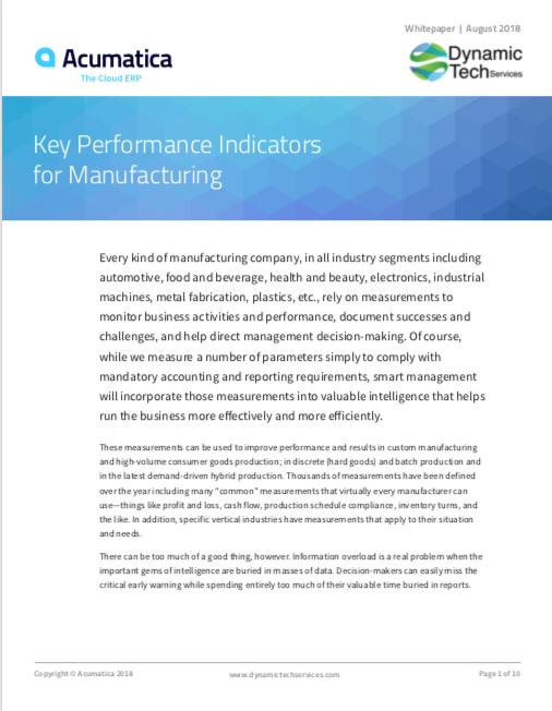 Key Performance Indicators KPIs Manufacturing