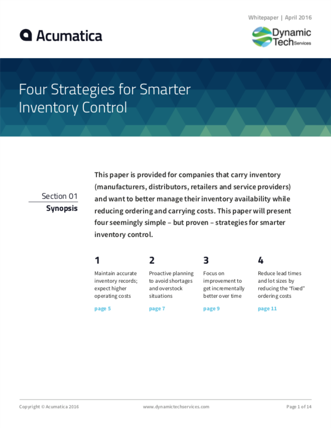 Four Strategies Smarter Inventory Control White Paper
