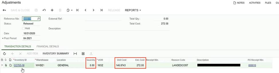 Acumatica Landed Costs Adjustments Screen Shot