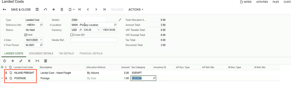 Acumatica Landed Costs Code Selection Screen Shot