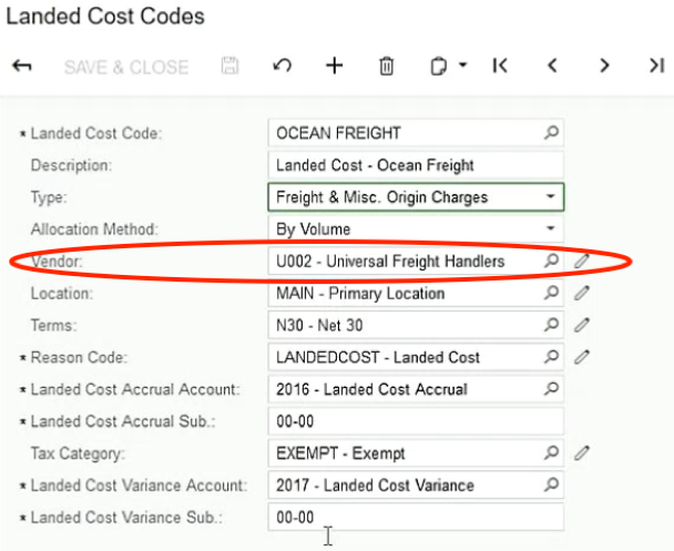 Acumatica Landed Costs Codes Screen Shot