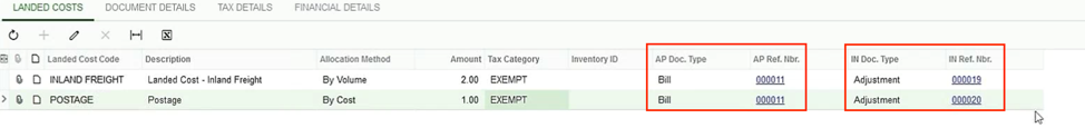 Acumatica Landed Costs Create Bill Screen Shot