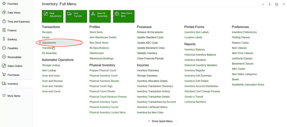 Acumatica Landed Costs Inventory Adjustments Screen Shot