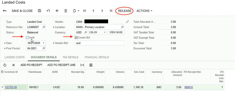 Acumatica Landed Costs Release Screen Shot