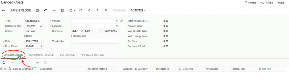 Acumatica Landed Costs Screen Shot 2