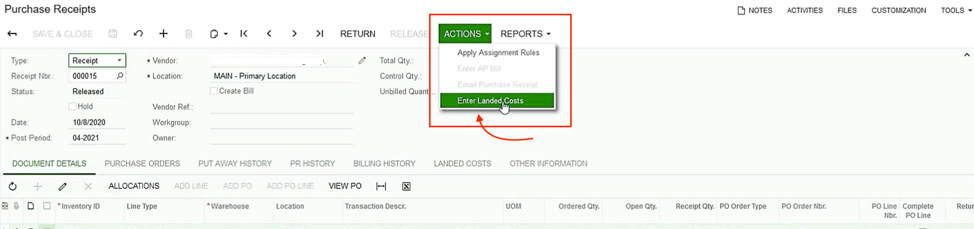 Acumatica Landed Purchase Receipts Screen Shot