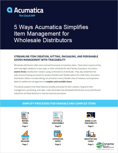5 Ways Acumatica Simplifies Item Management for Wholesale Distributors eBook